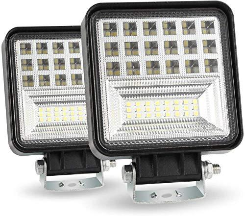 4 pulgadas 126 W cubo luz LED, luz de inundación 12600 lúmenes, luz de trabajo de conducción fuera de carretera, camión, coche, barco, ATV, UTV, SUV (2 piezas)