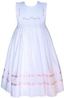 Sleeveless White Smocked Baby Girls Dress with Pink Ribbons