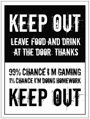 Caledonia Schilder 27200e Keep Out, lassen Essen/Trinken auf Tür, I 'm Gaming