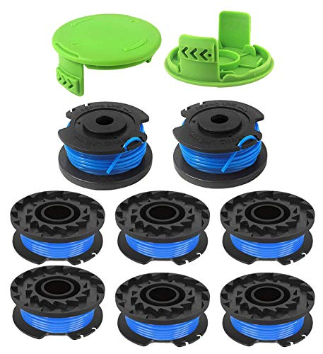 BOOTOP 29092 String Trimmer Replacement Spool 29252, Compatible with Greenworks 24V 40V 80V Weed Eater Cordless Trimmer 21332 21342.065-Inch Single Line Trimmer Replacement Spool (8 Spools, 2 Caps)