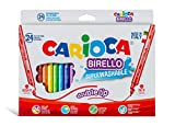 CARIOCA BIRELLO | 41521 - Caja de Rotuladores Doble Punta Superlavables, Colores Surtidos, 24 Colores