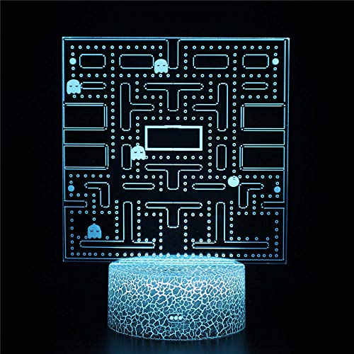 Pac Man games3D Night Light, Optical Illusion Night Light, 16 Colors Changing Night Light lamp with USB Decorative Remote Table Desk Bedroom Decoration Toys for Boys