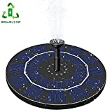 Gocheer Solar Fountain, Bird Bath Water Pump 2.5W Solar Powered Fountain Pump with 800 mAh Battery Backup 6 Nozzles for Outdoor Garden Pond Pool Aquarium