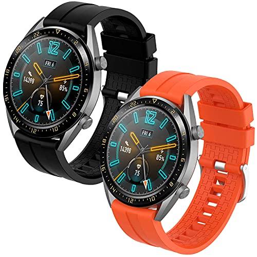 Th-some Correa para Huawei Watch GT 2/ Huawei Watch GT Fashion/Sport/Active/Elegant/Classic/Gear S3 Frontier/Galaxy Watch 46mm/S3 Classic, 22mm Pulsera de Repuesto de Silicona Banda (Negro Naranja)
