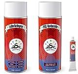 Set 3: spray de pintura de cuero 400 ml & 400 ml limpiador de cuero & Tubo de 8 g para Porsche SandBeige – para teñir y restaurar asientos de cuero, zapatos de cuero & otros artículos de cuero
