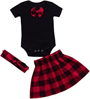 3d548875e9 FORESTIME_baby clothes girl FORESTIME 3PC Kids Baby Girls Bowknot Rompers  +Lattice Princess Skirts+Headband