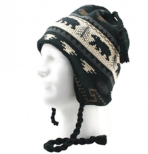 Alaska Beanie Mütze Totenkopf Black Bear Lodge Helm Strickmütze