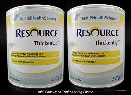 2x 227g ThickenUp von Nestle Health Science Andickungsmittel – Andickungspulver – im exclusiven ConsuMed Bundle mit Nahrungergänzungsmittel Übersicht im DIN A3 Posterformat