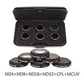 Multi-layer coating , ultra-light, ulti-thin lens filters perfect fit for DJI Mavic Pro camera ND4 / ND8 / ND16 / ND32 / CPL / MVUV, 6 modalità, per scattare foto in stile diverso. Non influenzerà l'autoispezione del giunto cardanico. Impermeabile, a...