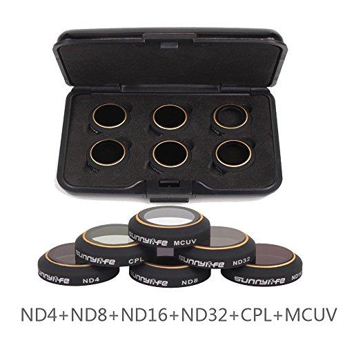 Flycoo Rivestimento Multistrato Filtro Anti-graffio per Acqua / Olio per DJI Mavic PRO Camera (ND4+ND8+ND16+ND32+CPL+MCUV)