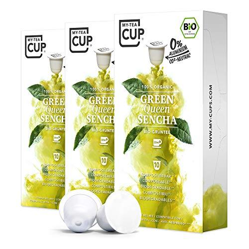 My Tea Cup - TEEKAPSELN GREEN QUEEN SENCHA 3 x 10 KAPSELN I BIO-GRÜNTEE I 30 Kapseln für Nespresso®³-Kapselmaschinen I 100% industriell kompostierbare & nachhaltige Teekapseln – 0% Aluminium