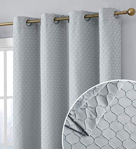 HLC.ME Siena Decorative 100% Blackout Thermal Insulated Double Layer Window Curtain Grommet Panels for Living Room & Bedroom - Energy Savings & Soundproof, Set of 2 (50 x 84 inch Long, Light Grey)