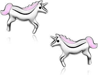 Unicorn Earrings for Girls Sterling Silver Cute Stud Earrings for Kids Jewelry Gifts