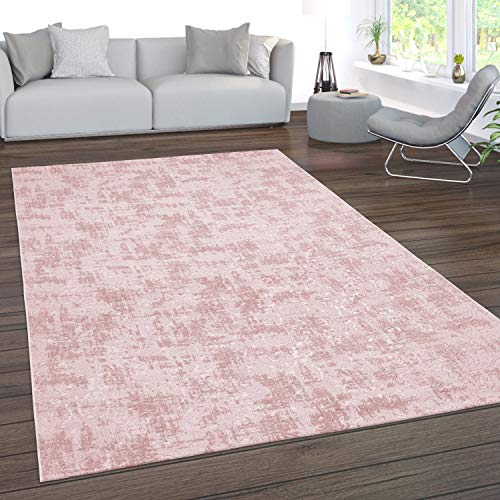 Paco Home Teppich Wohnzimmer Kurzflor Waschbar 3D Effekt Modernes Orientalisches Muster, Grösse:120x180 cm, Farbe:Rosa