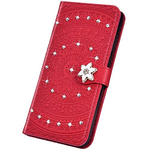 Surakey Cover Compatibile con Samsung Galaxy S10e Custodia Flip PU Pelle Modello Mandala Case Glitter Diamante con Supporto Porte Carte Anti-Scratch Portafoglio Custodia per Samsung Galaxy S10e,Rosso