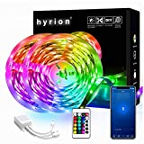 65.6ft hyrion Smart Led Strip Lights, 2 Rolls of 32.8ft RGB Color Changing Light Strips and 24 Keys Remote Sync to Music for Bedroom, Party