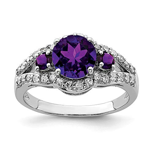 Sterling Silver Rhodium Plated Amethyst and Diamond Ring - Size 7