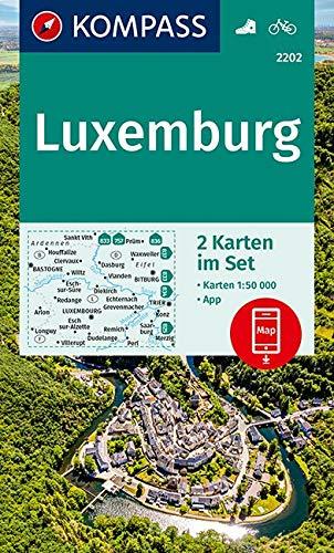 KOMPASS Wanderkarte Luxemburg: 2 Wanderkarten 1:50000 im Set inklusive Karte zur offline Verwendung in der KOMPASS-App. Fahrradfahren. (KOMPASS-Wanderkarten, Band 2202)