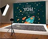 Love You Telón de fondo de vinilo para fotografía de 5 x 3 pies, cohete en la carretera del espacio, aventura cósmica de San Valentín para parejas, fondo para fotografía de bebé recién nacido