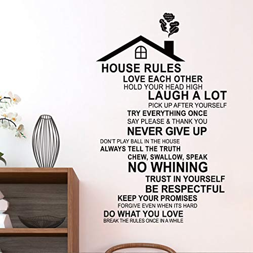 decalmile House Rules Wall Decals Quotes Inspirational Family Word Stickers Living Room Bedroom Wall Decor(Finished Size: 30 Inch x 18 inch)