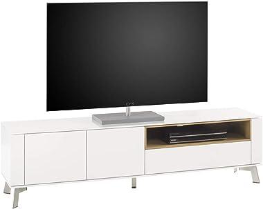 PEGANE Meuble TV Blanc Mat avec Niche en chêne - L180 x H51 x P40 cm