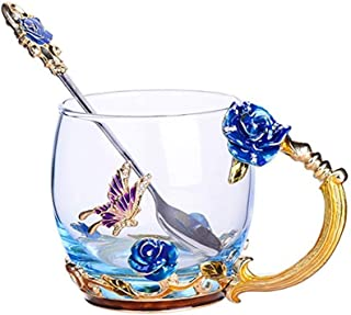 Luka Tech Enamel Butterfly flower Lead-free Glass Coffee Mugs Tea Cup with Steel Spoon, personalised Gifts For Women Wife Mom Girl Teacher Friends Birthday Mothers Valentines Day Wedding (Blue)