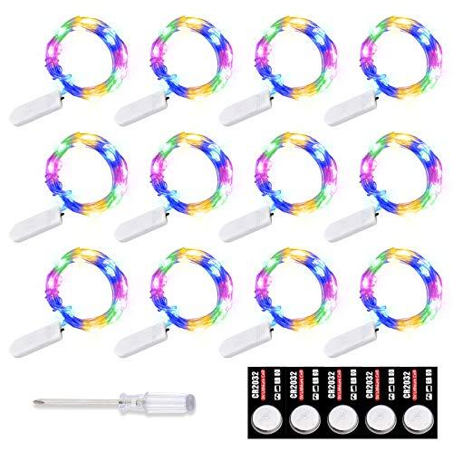 Pajaver 12 unidades de mini cadena de luces LED con pilas, 2 m × 20 luces pequeñas, iluminación decorativa para San Valentín, Día de la Madre, Día del Padre, bodas, fiestas, multicolor
