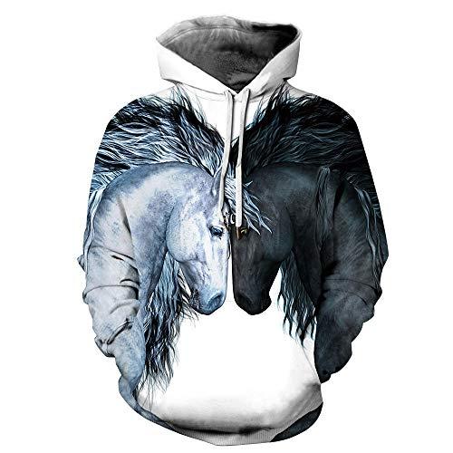 Sweatshirt Twee Paarden Hoodies 3D Gedrukt Grappige Lelijke Kerst Sweatshirt Sweater Jumper Lange Mouw Pullover Tops met Pocket