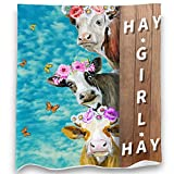 Loong Design Cow Flowers Throw Blanket Soft Fluffy Premium Sherpa Fleece Blanket 50'' x 60'' Fit for Sofa Chair Bed Office Travelling Camping Gift