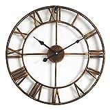 DORBOKER Reloj de pared grande de metal retro premium de 16 pulgadas para cocina, dormitorio, salón, oficina (40 cm bronce)