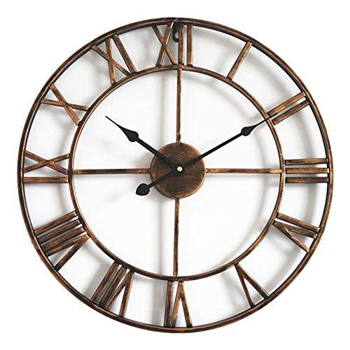 Orologio da Parete con Numeri Romani Retrò Europei Orologi Vintage a Batteria al Quarzo Silenzioso di Grandi Dimensioni per Cucina Soggiorno Camera da Letto (Oro-A)