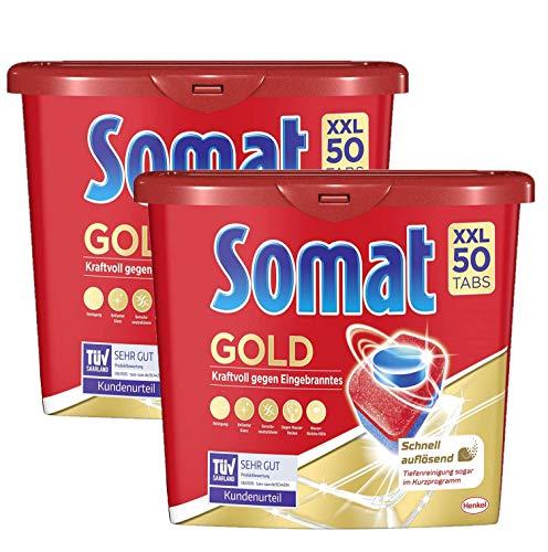 Somat, Gold - Pastillas para lavavajillas, 100 (2 x 50) pastillas extra fuertes contra el efecto quemado y brillo