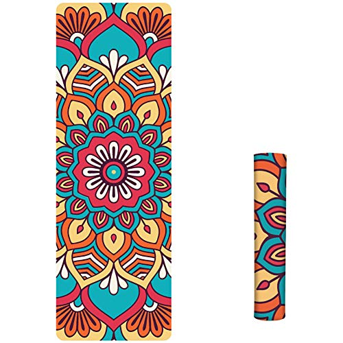 Best Bargain Oyov2L Fashion Printed Suede TPE Anti-Slip Gym Fitness Exercise Pilates Yoga Mat Pad Du...