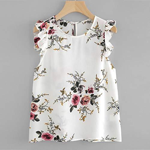 Women Vest Summer Tank Top Floral Print Butterfly Sleeve Blouse Crop Tops Vest Tank Chiffon O Neck Women Tank Tops-White_M_0