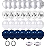 LKMING 60 Globos de Metal de Látex de Confeti Blanco Perla Azul Plateado de 12 Pulgadas como...