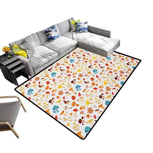 DesPKON-HOME - Felpudo para interior de dormitorio, diseño de hongos y rayas, poliéster y mezcla de poliéster, Multi-10., 92x153 cm