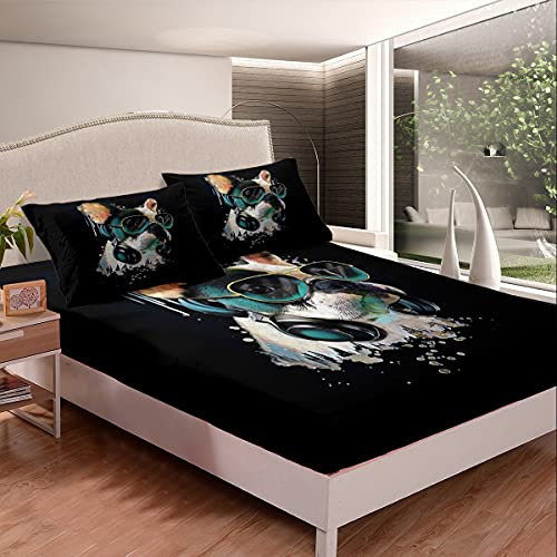 Erosebridal French Bulldogs Sheet Set Twin Size Teens Headset Fitted Sheet for Kids Child Boys,Puppy Headphone Bed Sheet Pup Dog Bed Cover Dog Lover Bedroom Decor Black