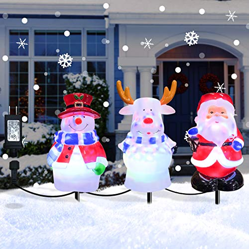 Christmas Decorations Pathway Light Outdoor, Waterproof Landscape Path Lights Decor 3 in 1 Snowman Santa Reindeer Outdoor Stake Decoration for Patio, Yard, Garden, Lawn Decoration