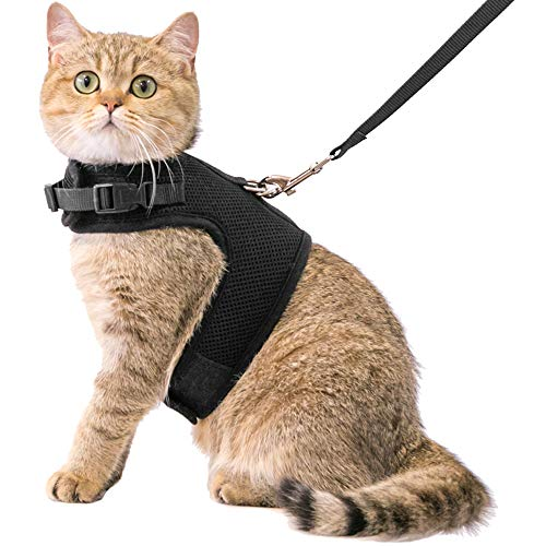 CHERPET Katzengeschirr und Leine, ausbruchsicher, verstellbar, 1,5 m Gurt, leicht für Spaziergänge im Freien, weiche Netzgewebe, atmungsaktiv, Schwarz, Bequeme Passform für kleine Tiere
