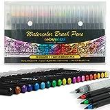 Artists Watercolour Brush Pens Set, 20 Vibrant Colours, Premium Real Soft Brush Tip Paint Markers Plus Water...