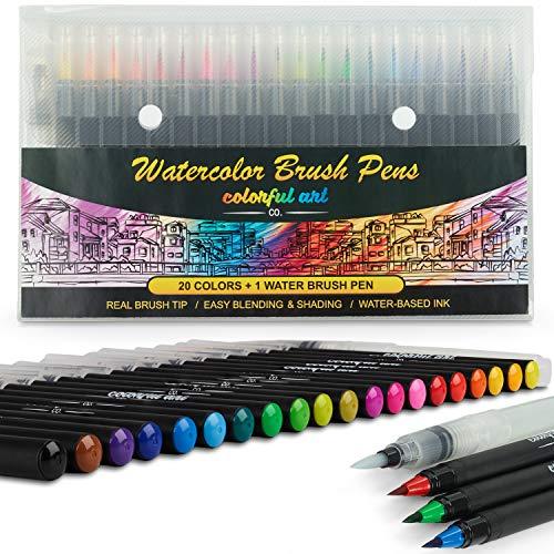 Colorful Art Co Set pennarelli per lettering e disegni - Pennarelli acquerello professionali - 20 pennarelli watercolor - Set per bambini e adulti di 20 pennarelli effetti acquerello