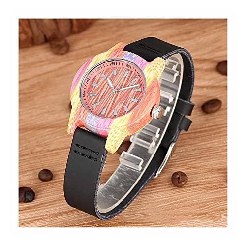 Reloj de madera unisex, color creativo de madera de bambú, cara blanca, reloj de cuarzo de aguja luminosa con pulsera de madera, caja fuerte y respetuoso con el medio ambiente, mejor regalo para navid