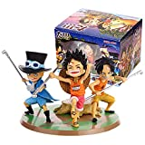 3Pcs Anime One Piece Dxf Luffy Ace Sabo Action Figure PVC Childhood Three Brothers Brotherhood Model Toy Gift Collectibles