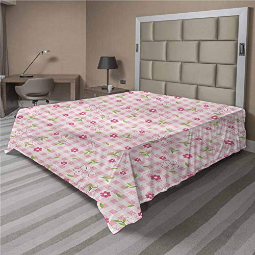LCGGDB Floral Flat Sheet Only,Flowers and Stripes Brushed Microfiber Bedding Top Sheet, Ultra Soft Bed Flat Sheets,1 Piece,Twin Size,Fit for Oversize and Extra Height Twin Bed