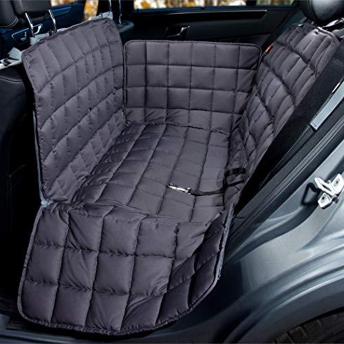 Doctor Bark Hunde 2-Sitz-Autoschondecke für die Rücksitzbank, All-Side Schutz mit Reißverschluss für alle PKWs und SUVs, M in Grau