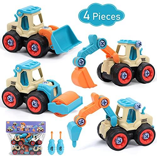 Tacobear 4 Piezas Vehículo de Construcción Juguetes de Montar y Desmontar Coche Playa Arena Coches de Friccion DIY Camión Excavadora Vehículos Juguete Cumpleaño Regalos para Niños (Colores)