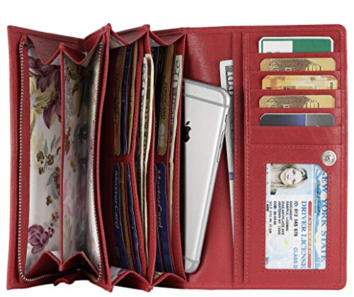 Mou Meraki Women RFID Blocking Real Leather Bifold Wallets For Women-Shield Against Identity Theft (RED)
