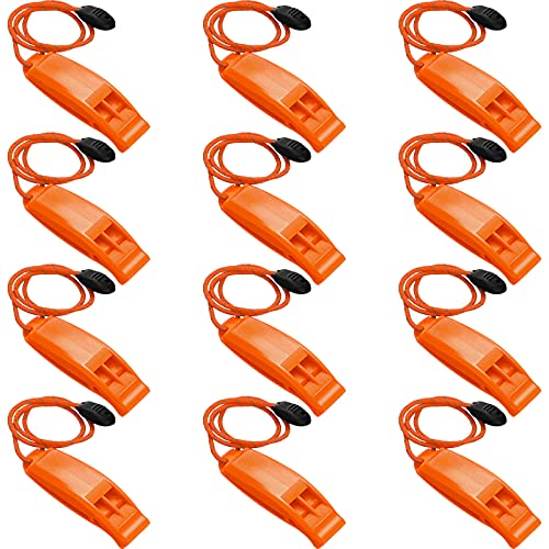 12 Pieces Emergency Whistle with Lanyard Safety Whistle Referee Whistles ABS Plastic Whistles Sports Competition Whistle for Kayak Life Vest Jacket Boating Fishing