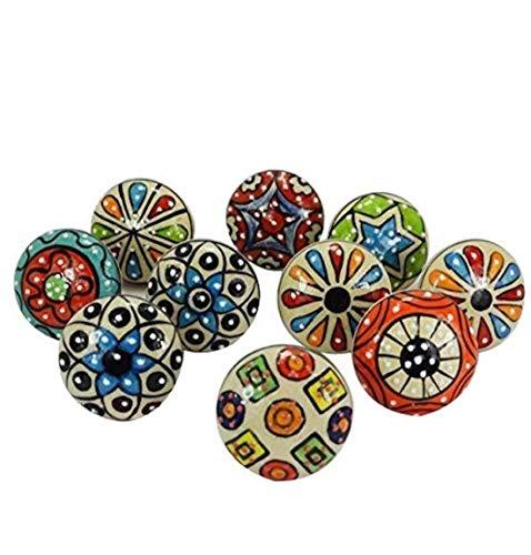 JSR 10er-Set farbig gepunktete Keramik-Knäufe für Schubladen und Schränke