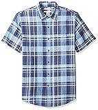 Amazon Essentials Men's Slim-Fit Short-Sleeve Plaid Linen Shirt, Navy, Large